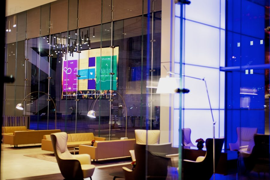 Inside of Aviva London office reception at night