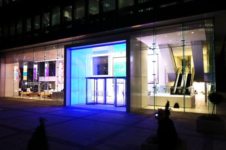 Outside of Aviva London office at night