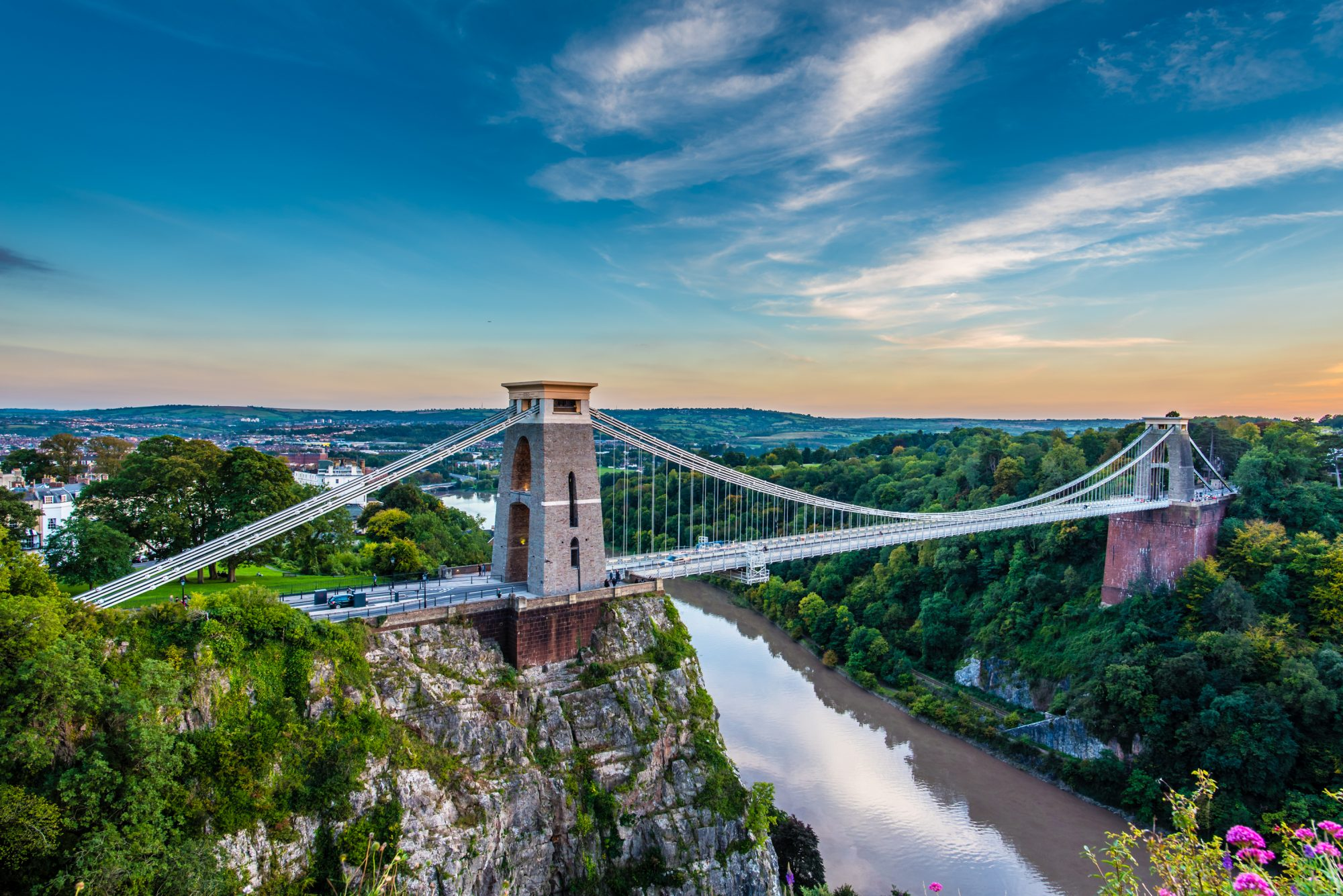Aerial view of Clifton Suspension Bridge, Bristol