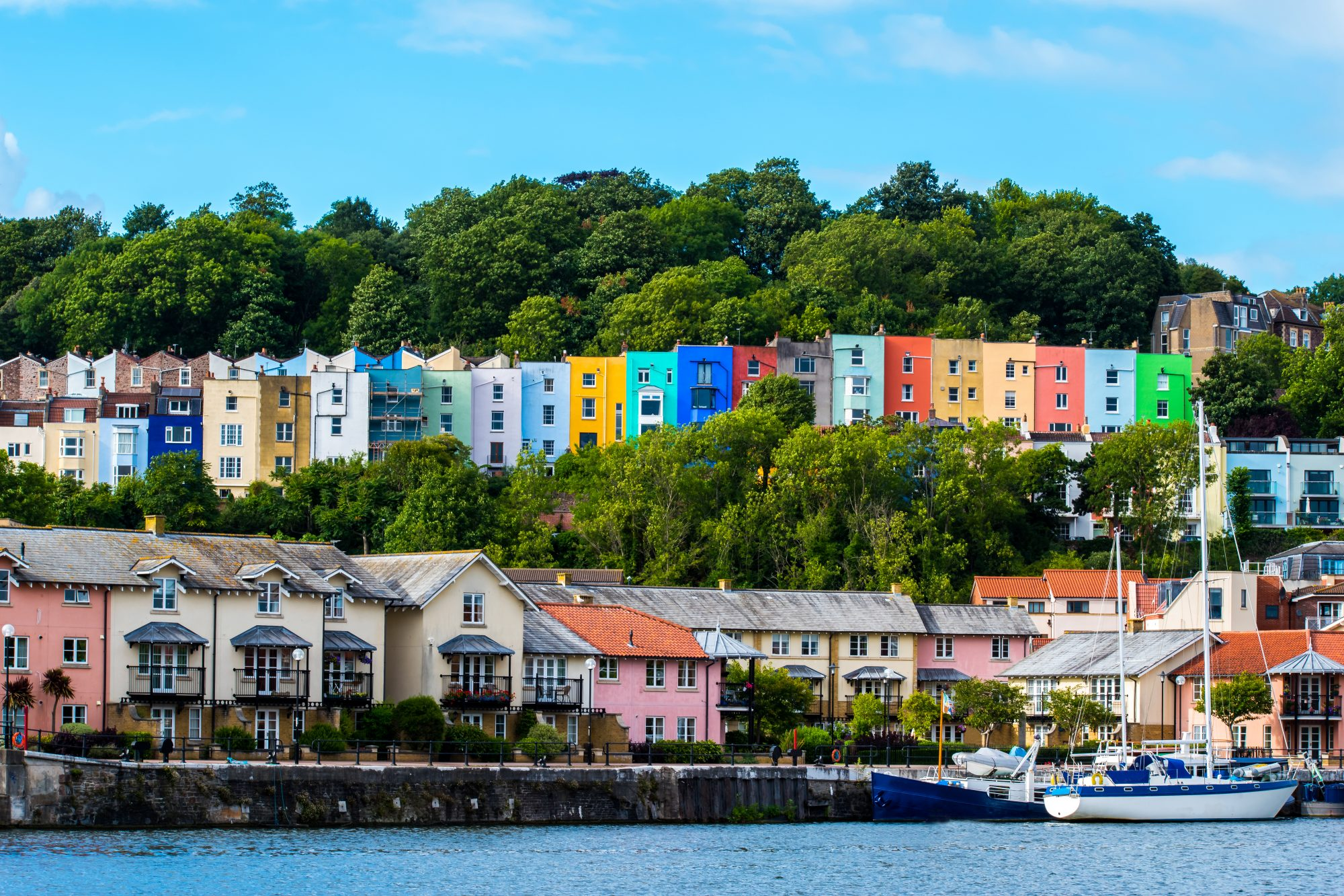Colourful houses along the river in Bristol